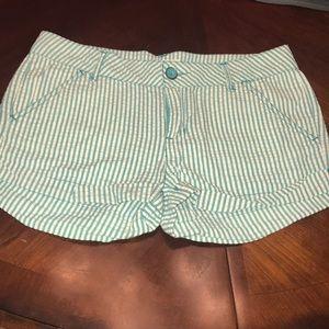 Green and white seersucker shorts